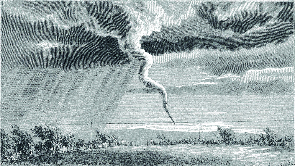 Illustration of a tornado by the French architect, aviator, illustrator, editor and archaeologist Albert Tissandier (1839–1906)  for the French scientific journal La Nature (founded by Gaston Tissandier in 1873). The illustration, showing a tornado that occurred at Norwich on June 1880, is based on a sketch by Duncan Matheson from the Inniskilling Dragoons, who reported the event for the English newspaper The Graphic. source: Une Trombe Observee at Norwich, en Angleterre. La Nature 1880, 366–391, p. 215–216. Courtesy of CNUM – Conservatoire Numérique des Arts et Métiers (http://cnum.cnam.fr/).