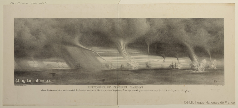"""Phénomène de trombes marines"" courtesy of Bibliothèque nationale de France. The caption reads: ""Waterspouts phenomenon observed in the sea of Sicily, toward Stromboli 27 June 1827, and drawn by L. Mazzara, aboard the brigantine Portia, Cabbage captain, when the ship fired on the waterspout."" [a high resolution image can be found here] source:  Bibliothèque nationale de France"