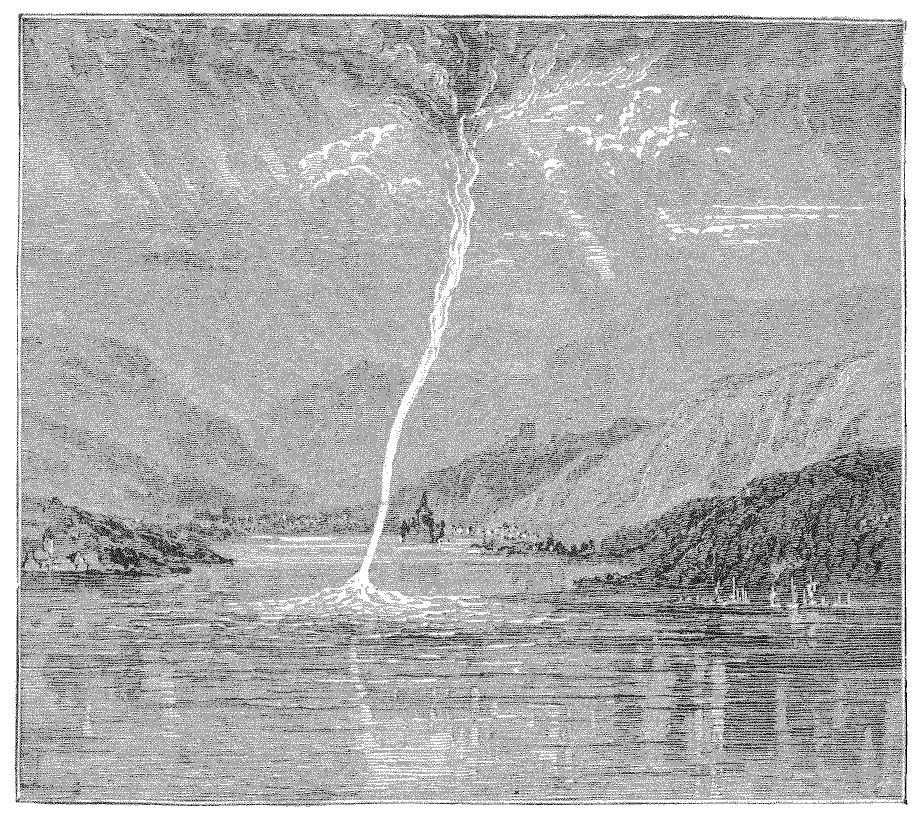 "Waterspout over the Rhine near Cologne on 16 June 1874 observed by R. Peyton. The lithography by Gaston Tissandier (1843–1899) shows the waterspout in full development. The lower part of the waterspout is represented in white, as it had almost the appearance of a ""mercury vein"", ""perfectly cylindrical like the jet which escapes from the barrel of [...] water carriers."" ""This beautiful waterspout, long and thin, was reflected in the river's water as in a mirror, and offered to the eye a striking image.""  source: Tissandies, G., 1874:  Une Trombe d'Eau sur le Rhin. La Nature, 60, pp. 113–114. Courtesy of CNUM – Conservatoire Numérique des Arts et Métiers (http://cnum.cnam.fr/)."