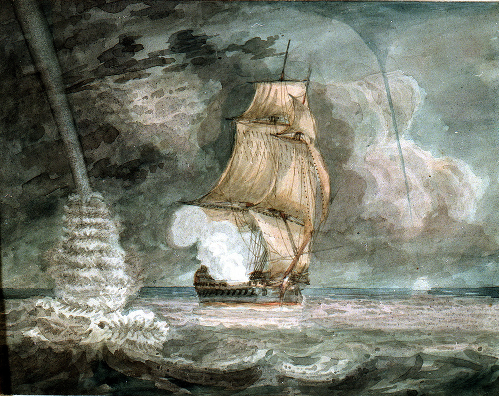 Naval vessel at sea, firing a gun, with waterspouts starboard (righ) and port (left),  watercolour by D. Tandy (sketchbook, 1798). source: This is a part of the National Maritime Museum's collections (London) [copyright National Maritime Museum, London via europeana.eu].