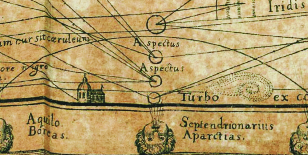 Fig. 4 - Detail (lower left) from   The Great Meteorological Chart showing a whirlwind (turbo).   (image courtesy of   archive.rog  )
