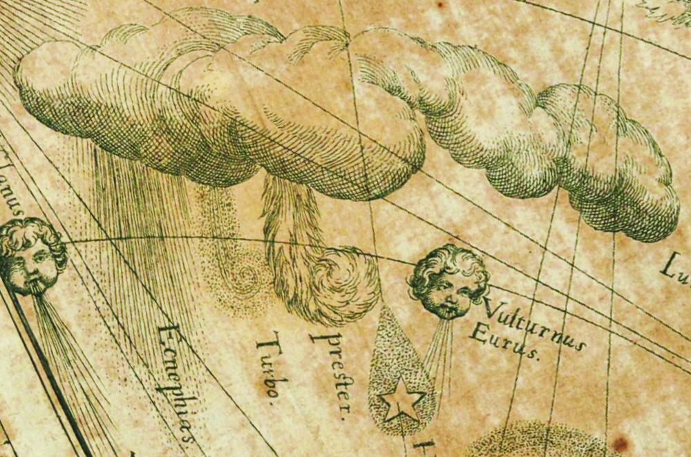 Fig. 3 - Detail (lower left) from The Great Meteorological Chart showing a whirlwind (turbo) and a tornado (prester, fiery exhalation). (image courtesy of archive.rog)