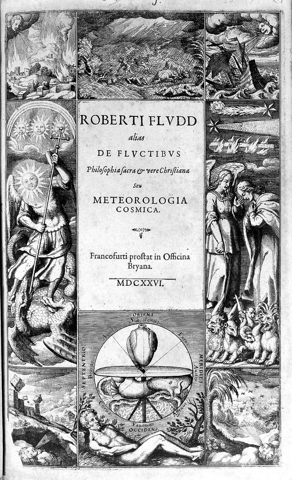 Fig.1 - Frontispiece of Philosophia Sacra et Vere Christiana seu Meteorologia Cosmica  (Frankfurt, 1623) with engravingsby Matthäus Merian ( 1593 –1650). (image courtesy of Gallica)