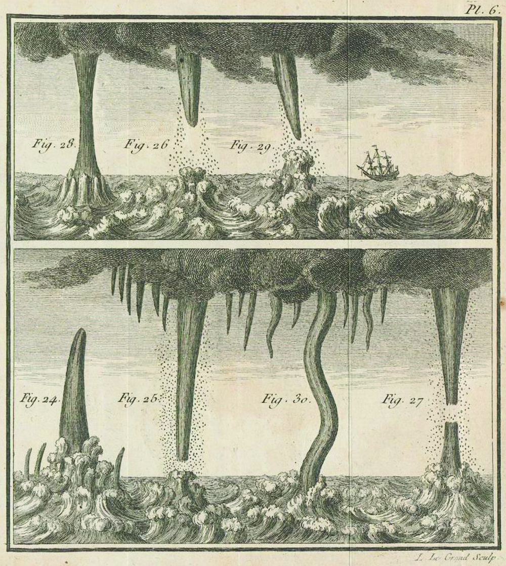 Depictions of waterspouts from  De l'électricité des météores (Paris, 1787) by Pierre Bertholon de Saint-Lazare, a French physicist and member of Société Royale des Sciences de Montpellier, mainly known for his theories and experiments on atmospheric electricity. Figure 24 shows a descending waterspouts. Ascending waterspouts are represented in Figs. 24 and 26. Fig. 27 is an example of an ascending and descending waterspout and Fig. 28 an example of a joined ascending and descending waterspout. Other waterspout morphologies as shown in Fig. 29, a waterspout whose cone axis is inclined, and Fig. 30, a curved waterspout.  Source: Bertholon de Saint-Lazare, Pierre, 1787: De l'électricité des météores. Tome Second, Paris. pp. 391. Courtesy of ETH-Bibliothek Zürich via e-rara.ch (link)