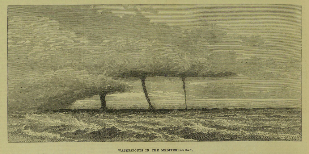 Waterspouts at  Menton , on the Mediterranean shore of France, on 12 November 1872.