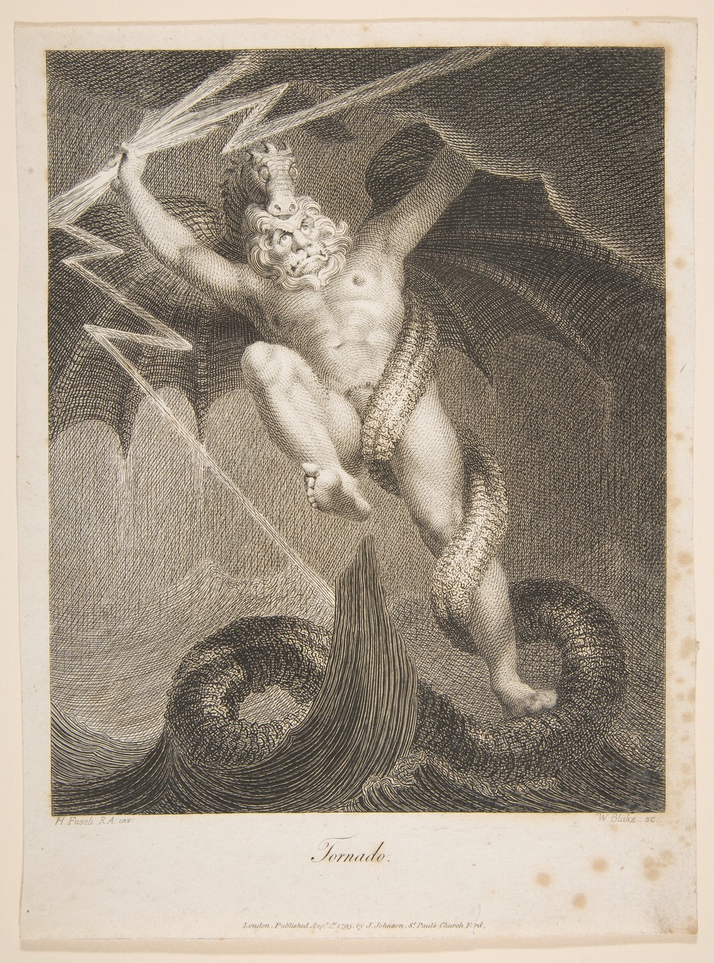 Tornado–Zeus Battling Typhon, by William Blake (1757–1827) after Henry Fuseli (1741–1825), monochrome shaded line drawing from the third edition of Erasmus Darwin's (1731–1802) The Botanic Garden (1795).   source: The Elisha Whittelsey Collection, The Elisha Whittelsey Fund, 1966 via The Metropolitan Museum of Art (New York, United States).
