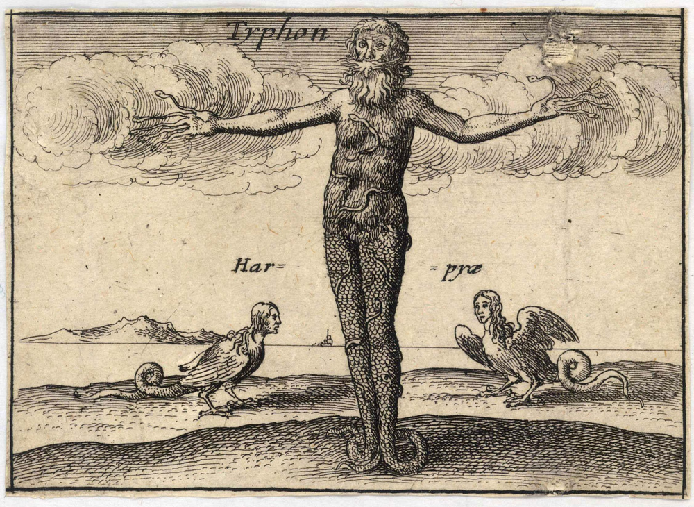 "Depiction ""Typhon"" from a series on ""The Greek Gods"" by the Bohemian etcher Wenceslaus Hollar (Václav Hollar) (1607–1677). Born of Mother Earth Gaia and Tartarus, Typhon commands the destructive winds of the world, which he used on land to destroy crops and in water to sink ships and drown sailors. Several sources (e.g., Pindar) locate Typhon's birth and dwelling place in the vicinity of the ancient Cilician coastal city of Corycus (Kızkalesi, Turkey). This is a region in which, according to a recent climatology, tornadoes and waterspout are observed relatively frequently.   source:  artwork from University of Toronto Wenceslaus Hollar Digital Collection scanned by University of Toronto, high resolution version extracted using custom tool by User:Dcoetzee via Wikipedia."