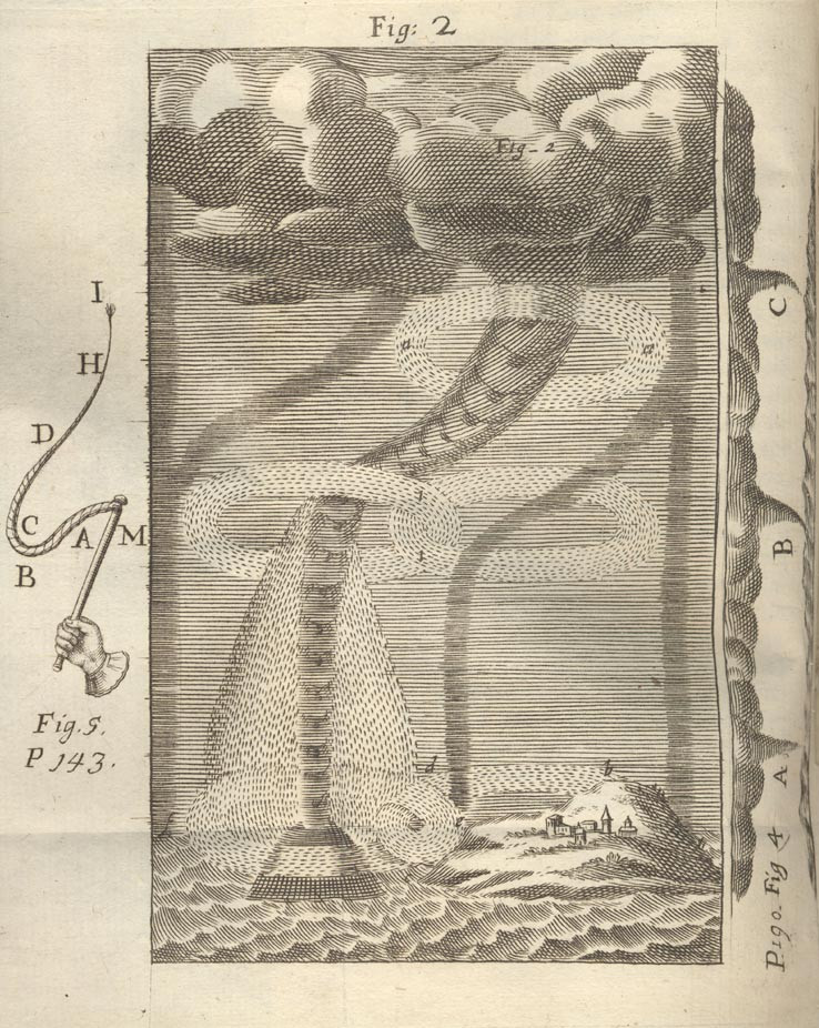 "Depictions of waterspouts from Le Forze d'Eolo, Dialogo Fisico-Matematico Sopra gli Effetti del Vortice (1694) by the Italian astronomer Geminiano Montanari (1633–1687). Montanari's ""physical-mathematical dialogue"", mainly a theoretical discussion on tornadoes, is describing the effects of a tornado that occurred in the State of Venice about 5 p.m. on 29 July 1686 causing damages in Mantova, Padova and Verona. Source: Montanari, Geminiano, 1694: Le Forze d'Eolo. Dialogo Fisico-matematico sopra gli effeti del vortice, o sia turbine, detto negli Stati Veneti la bisciabuova. Che il giorno 29 Luglio 1686 ha scorso, e flagellato molte ville, e luoghi de'territorj di Mantova, Padova, Verona, etc. Opera postuma del Sig. Dottore Geminiano Montanari Modanese, Astronomo e Meteorista dello Studio di Padova. In Parma, ad instanza d'Andrea Poletti. Parma : A. Poletti, 342 pp. [PDF courtesy of Biblioteca Europea d'Informazione e Cultura]. Figures courtesy of BibliOdyssey."