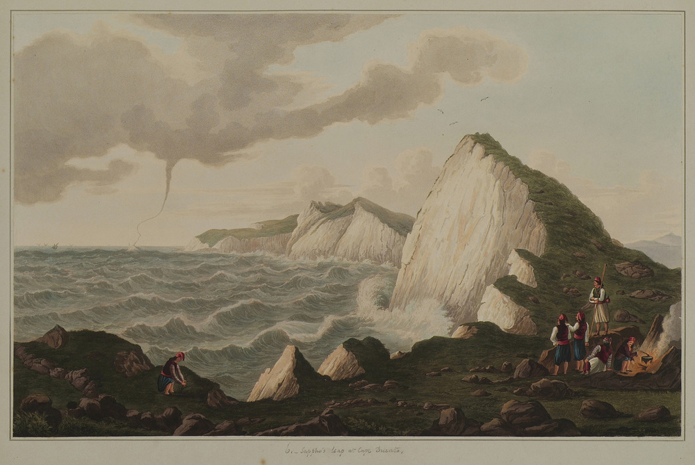 Waterspout at Cape Lefkatas, Lefkada Island by the British painter Joseph Cartwright (1789–1829). In 1821, Cartwright was appointed paymaster-general of the British forces at Corfu. This post gave him the opportunity to travel around the Ionian islands and produced sketches of the islands and surrounding area. On his return to England he published a volume entitled Views in the Ionian Islands. source: Cartwright, Joseph. [The Ionian Islands: twelve plates / engraved and colored by R. Havell and son, London, 1821]. Courtesy of Aikaterini Laskaridis Foundation, The Gennadius Library - The American School of Classical Studies at Athens. (Thanks to Stavors Dafis for pointing this to me).
