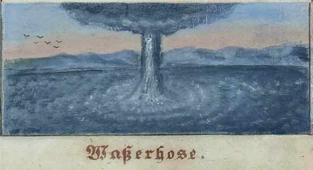 A representation (gouache on paper) of a waterspout by the Austrain painter Josef Gabriel Frey (1791–1884). This one of the twelfth depictions from 12 Ansichten atmospährischer Phänomenen (12 Views of Atmospheric Phenomena) (1878). source: 12 Ansichten von atmosphärischen Phänomenen (1878) via The Public Domain Review and Wikipedia Commons.
