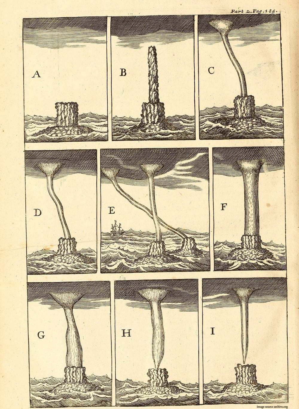 "A description of a spout [waterspout] by Jean de Thévenot (1633–1667) a French traveller, linguist, natural scientist and botanist. The waterspout occurred on 11 December 1665 ""northward between us and the isle of Quesomo [Kish Island in the Persian Golf] about a Musket shot [approximately 275 m] from the Ship"" (Thévenot 1687, p.185).  sources: The travels of Monsieur Thévenot into the Levant. In three parts. Viz. into I. Turkey. II. Persia. III. The East-Indies. Newly done out of French. London, 1686, Printed by H. Clarck, for H. Faithorne, J. Adamson, C. Skegnes, and T. Newborough, Booksellers in St. Paul's Church-Yard, MDCLXXXVII. via archive.rog."