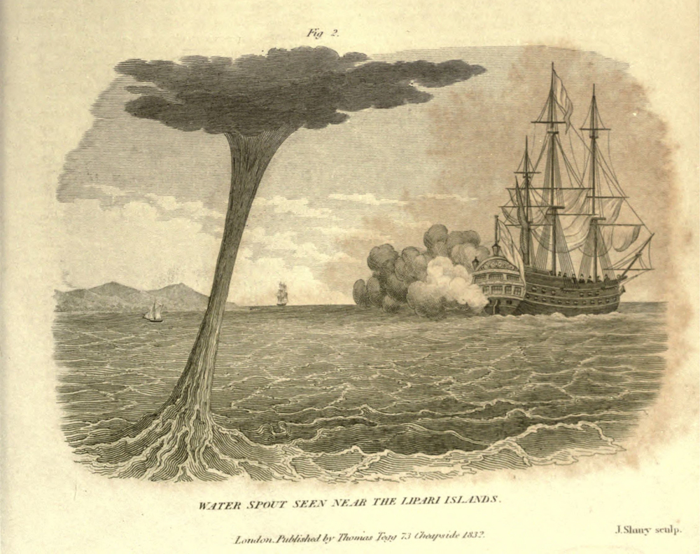 The description of the waterspout that occurred at the Lipari Islands was also include in A London Encyclopaedia (1829). source: A London Encyclopaedia, or Universal Dictionary of Science, Art, Literature and Practical Mechanics, vol. 14, London: Thomas Tegg, 1829. Accessed via  archive.org.