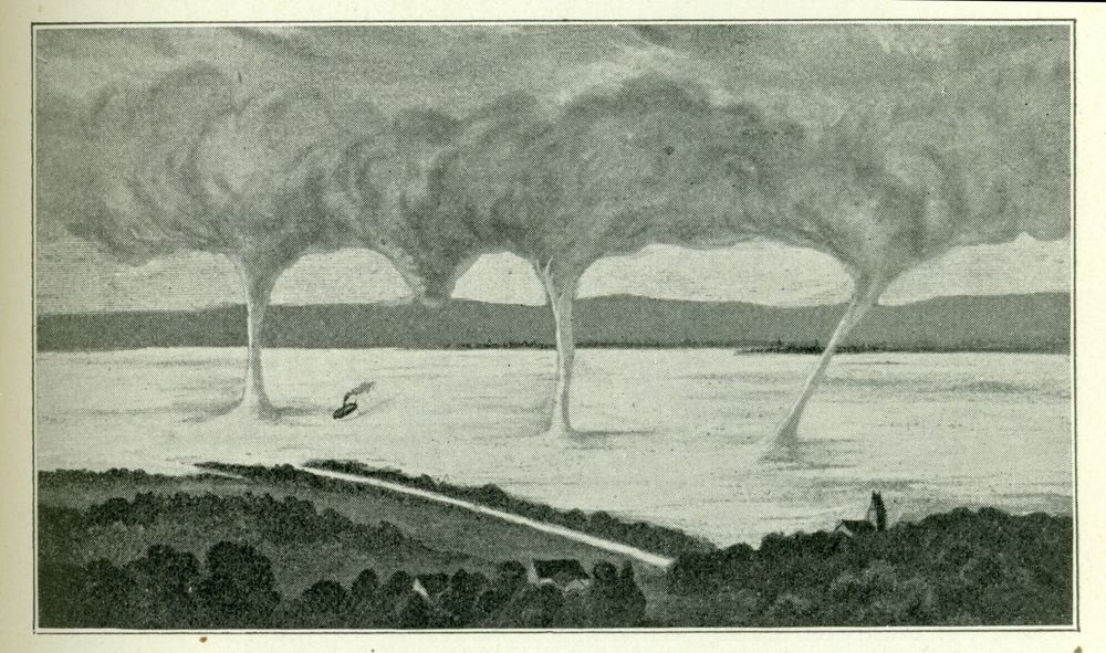 Waterspouts over Lake Constance on 4 July 1872 (Fig. 27 from Wegener 1917 via NOAA Photo Library).  source: Früh, J., 1907: Wasserhosen auf Schweizer Seen. Jahresberichte der Geographisch-Ethnographischen Gesellschaft in Zürich. Band: 7 (1906-1907) [PDF from ETH Bibliothek]. via tornadoliste.de (event description in German).