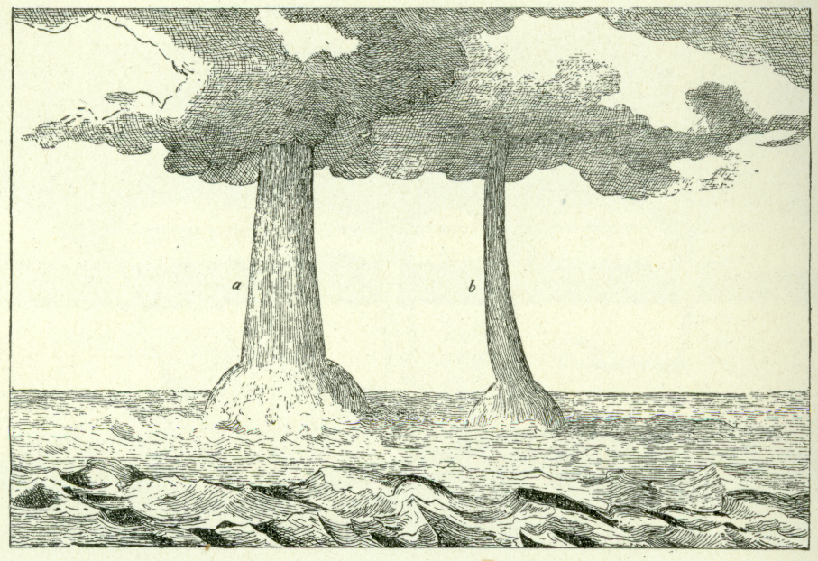 "Waterspouts on Lake Constance, Switzerland, on 25 June 1833.  source: Article on ""Wettersäule"" (atmospheric columns, p. 1678 and Fig. 186) from Gmelin, L. , J. C. Horner, K. L. Littrow , G. W. Muncke and C. H. Pfaff, 1842: Johann Samuel Traugott Gehler's Physikalisches Wörterbuch.  vol. 10 (Waf—Win), Schwieckertscher Verlag, Leipzig, p. 2262. (via archive.org) photo from Wegener (1917) courtesy of NOAA Photo Library"