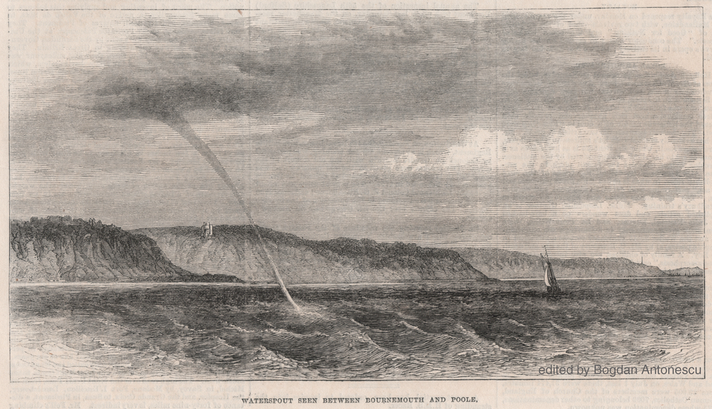 Waterspout seen between Bournemouth and Poole on 8 September 1871 from Illustrated London News (23 September 1871, p. 272). The sketch is attributed to Mr. Arthur Blomfield, possible the English architect Sir Arthur William Blomfield (1829–1899).