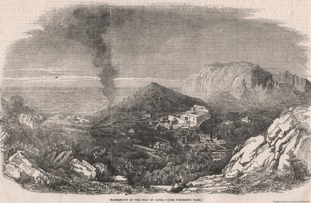"Waterspout in the Isle of Capri (Italy) on 2 September 1855. The waterspout (""Coda del Zefiro""), one of the that moved inland on that day, ""inflicted great loss on the proprietors of the soil"". The sketch was taken early in the morning from ""an elevated spot now dedicated to St. Michaele, formerly formerly the site of the Imperial Palace"". source: ""Waterspout in the Island of Capri"" from Illustrated London News, October 6, 1855, p. 412–413."