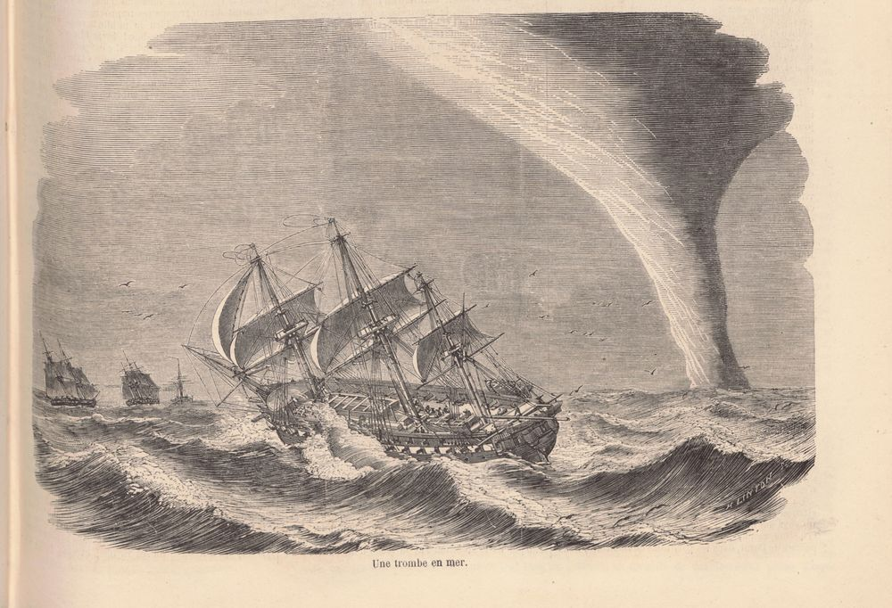 The French and British fleet encounters a waterspout near Kamchatka Peninsula (Russia).  source: Le Monde Illustré, 49, 20 March 1858, p. 189–190. via http://gallica.bnf.fr/ (PDF)