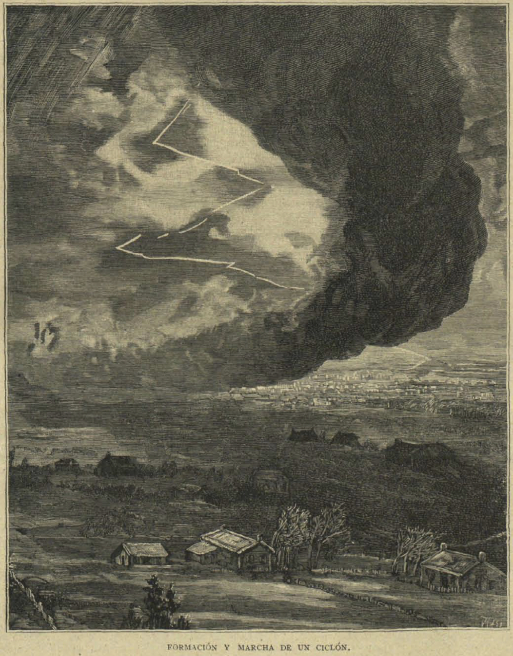 An idealised depiction of the F3 tornado that hit Madrid (Spain) on 12 May 1886 causing extensive damages. The Madrid tornado is the deadliest (47 fatalities) tornado that occurred in Spain since 1800.  References: Gayà, Miquel, 2007: The 1886 tornado of Madrid. Atmos. Res., 83, 201-210. [PDF] Source:  depictions from La Ilustración católica (25 May 1886) [PDF courtesy of Biblioteca Nacional de España] depictions of the damages can also be found in La Ilustración Española y Americana (22 June 1886) [PDF courtesy of Biblioteca Nacional de España]