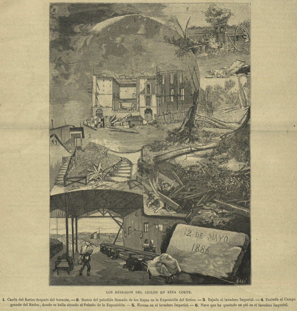 Damages associated with the 12 May 1886 Madrid tornado (from La Ilustración católica, 25 May 1886).