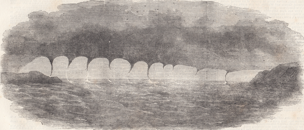 Waterspouts observed in the Mediterranean Sea on 2 March 1850 at 1 pm.  source: Caiger, H. , 1856. Extraordinary Waterspout. Illustrated London News, 5 April, 349–350.