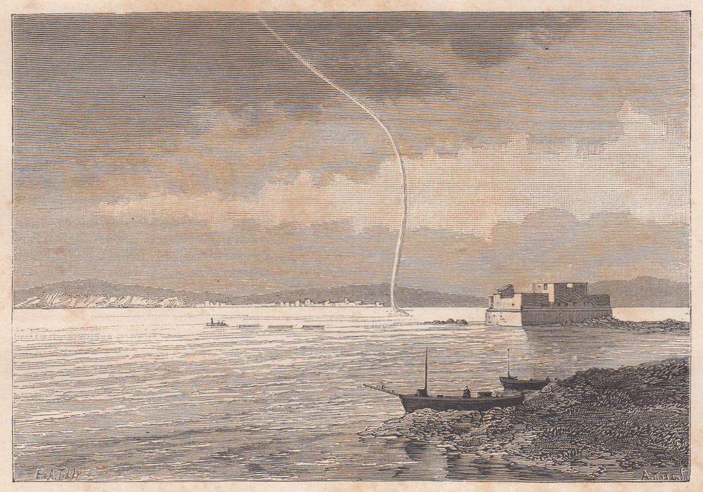 Waterspout observed at  Toulon  (France) on 4 May 1886 at 10am (local time), after a sketch by M. d'Angel.   source: Zurcher, F., 1886. Trombe dans la rade de Toulon (Waterspout in Toulon harbour).  La Nature ,  678 , p. 416. (personal collection).
