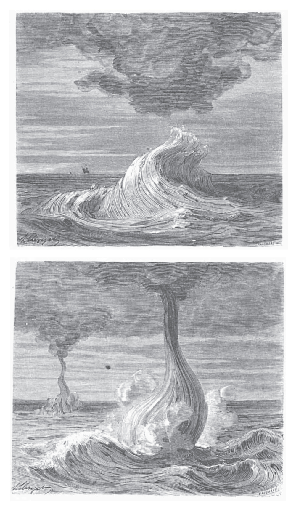Depictions of waterspouts from Thunder and Lightning (1866) by the French science writer and balloonist Wilfrid de Fonvielle (1824–1914). The evolution of waterspouts that occurred on 17 May 1773 off Cape Stephens (New Zealand) based on a described by Georg Forester (1754–94) from  A Voyage Round the World  (1777) an account of  James Cook's second voyage to the Pacific (1772–75).