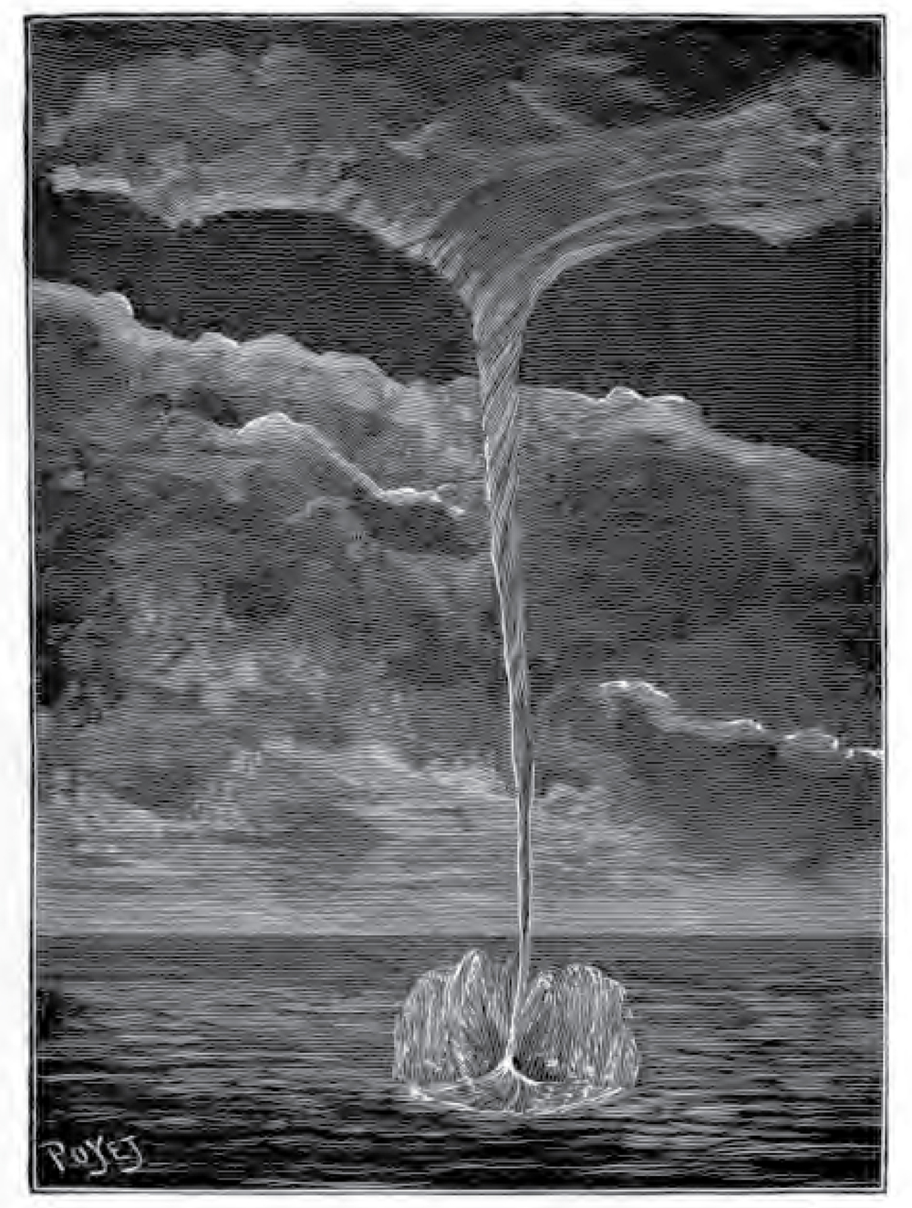 Depiction of a waterspout from  Sur les tourbillons, trombes, tempêtes et sphères tournantes  (1889)  a book containing laboratory experiments on tornado and waterspout formation by the French engineer  Charles Louis Weyher  (1836–1916).