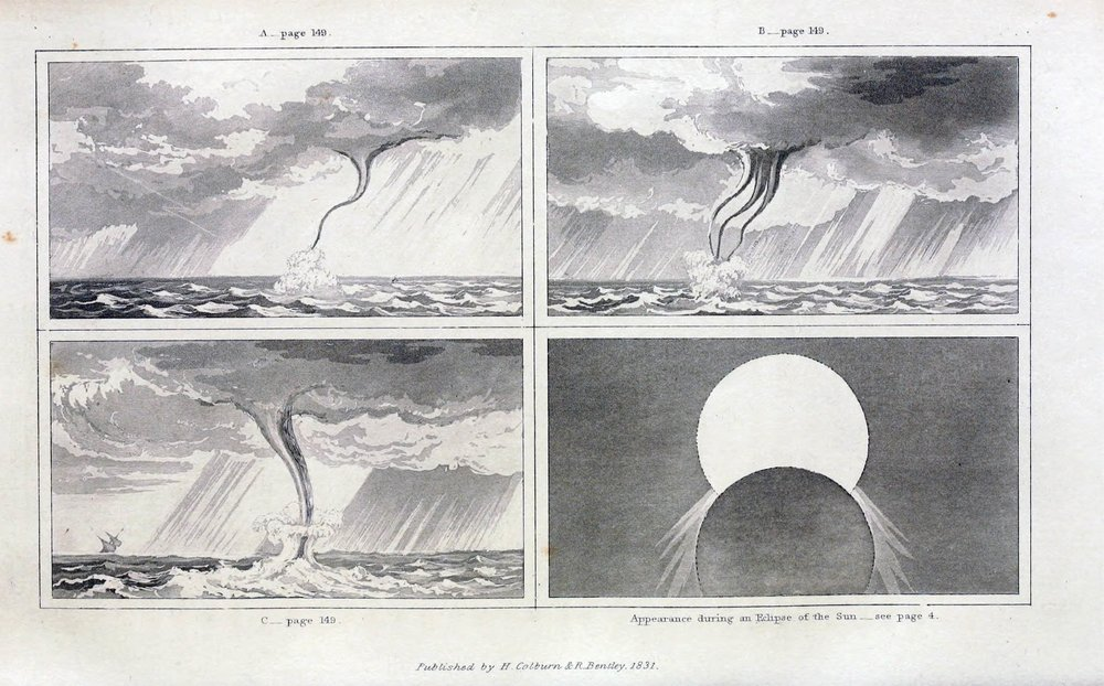 Waterspout at  Reao  ( French Polynesia ) observed on January 1826 by Captain  Frederick William Beechey  (1796–1856).  source: Beechey, F. W., 1831:  A Narrative of a Voyage to the Pacific and Beering's Strait  (vol. 1). London: Henry Colburn and Richard Bentley. (via  archive.org )