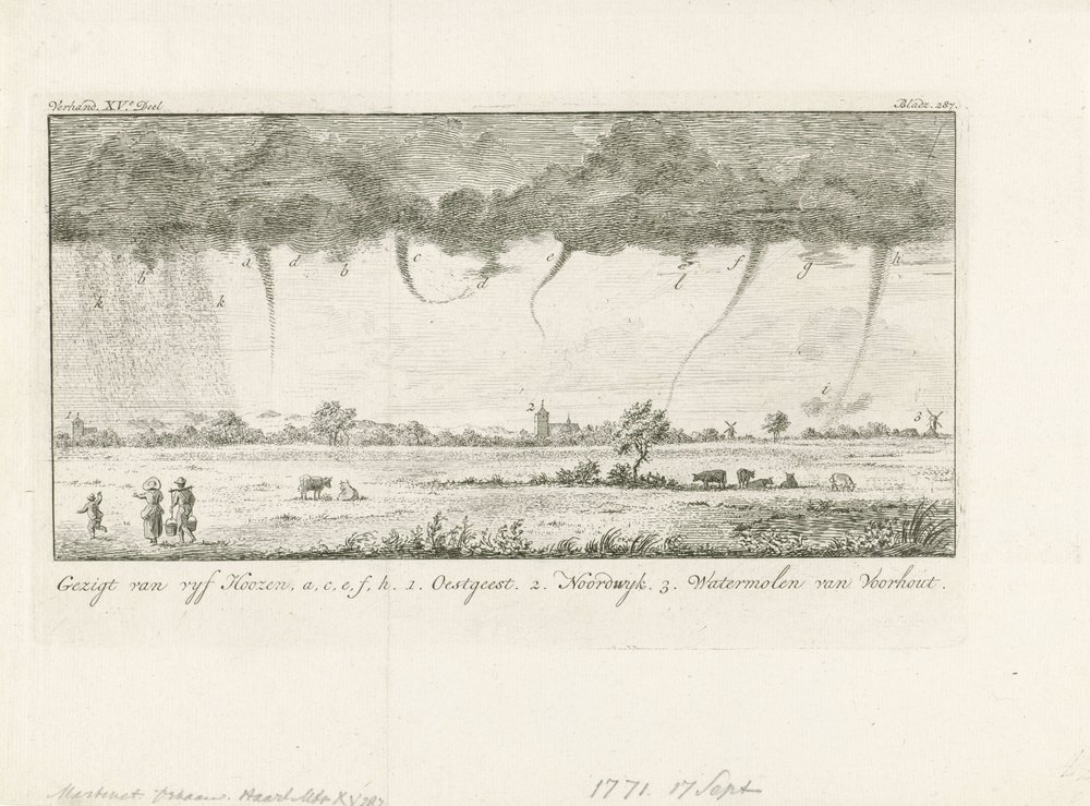Waterspouts (a, c, e, f, h) observed from Leiden on 17 September 1771. In the distance Oegstgeest (1), Noordwijk (2), and Voorhout (3).  reference: etching from Rijksmuseum