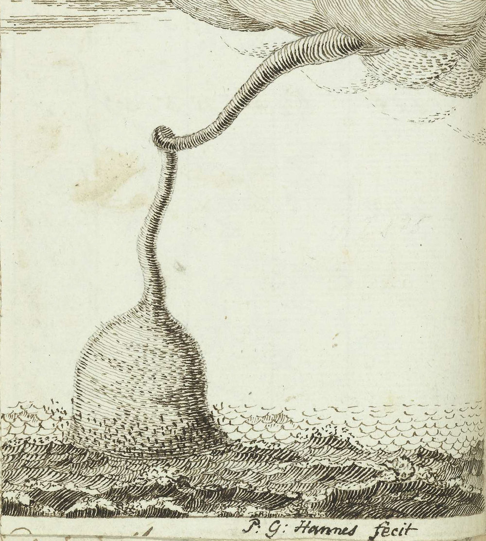Pen drawing of a waterspout over the Atlantic Ocean (c. May 1778–Oct 1787) from the sketchbook of Jan Brandes (1743–1808), a Dutch pastor, draftsman and watercolorist. source: Rijksmuseum.