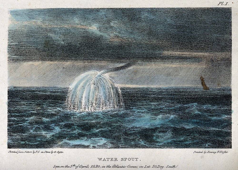 A waterspout observed over the Atlantic Ocean on 5 April 1820. Sketched from nature by P. S. and coloured lithograph by Agostino Aglio (1777– 1857). source: this file comes from Wellcome Images, a website operated by Wellcome Trust, a global charitable foundation based in the United Kingdom.