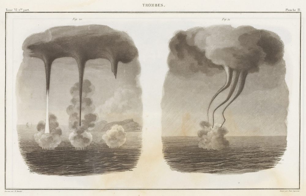 "Waterspouts from ""Traite experimental de l'electricite et du magnetisme, et de leurs rapports avec les phenomenes naturels; Atlas"" (vol. VI, plate III, Figs. 20-21) (1840) by the French scientist and pioneer in the study of electrical phenomena Antoine César Becquerel (1788–1878). The plate is inscribed ""Dessine par M. Bevalet. Grave par Paul Legrand."" source: www.deutsche-digitale-bibliothek.de"