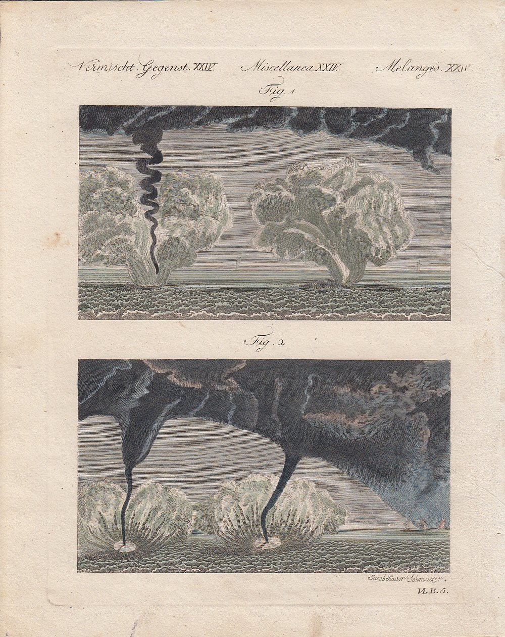 Waterspouts observed at Nice (France) on January 1789. source: Michaud, 1801: Observations sur les trombes de mer vues de Nice en 1789, le 6 Janvier et le 19 Mars.Memoires de l' Acad. de Turin, Tome 6, p. 3–22. (personal collection).