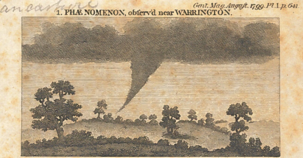 "The ""singular phenomena"" observed on 16 June 1798 in the neighbourhood of Warrington (courtesy of Warrington Archives and Local History, Culture Warrington)."