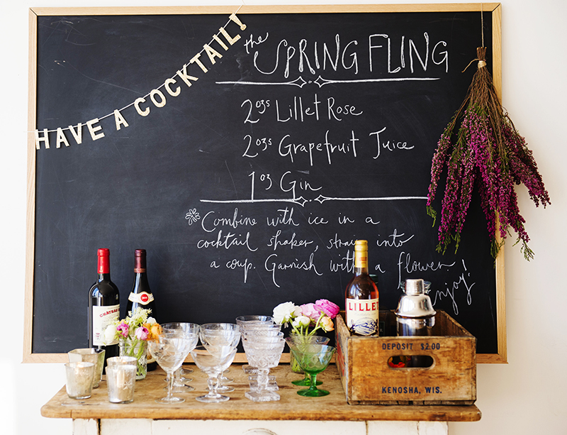 We wrote directions on a blackboard and let everyone bartend - it's a simple enough recipe that guests can be left to mix up their own...repeatedly.