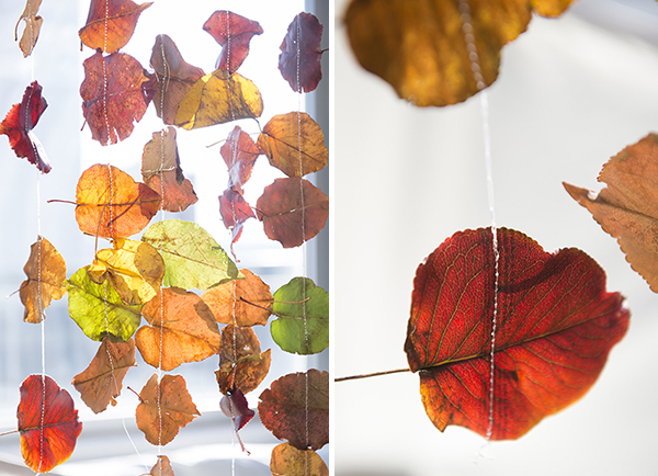 sewn leaf hanging garland - chasing saturdays