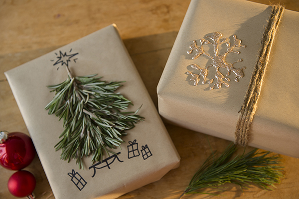 d.i.y rosemary tree and glitter snowflake wrapping - chasing saturdays
