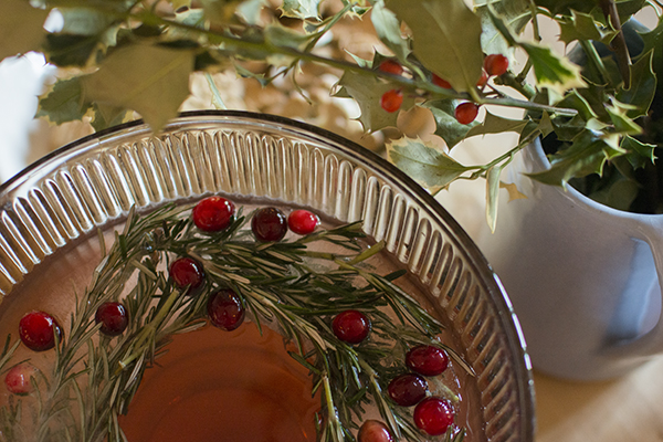 pomegranate rosemary holiday punch - chasing saturdays