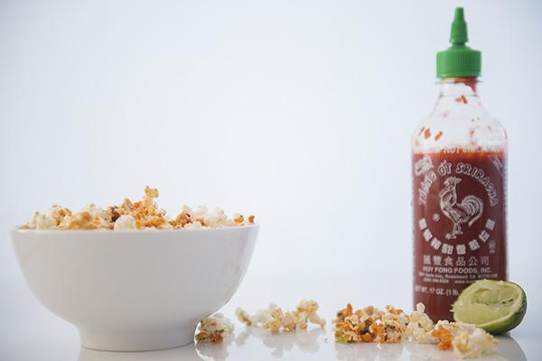 oscar worthy, sriracha lime popcorn - chasing saturdays