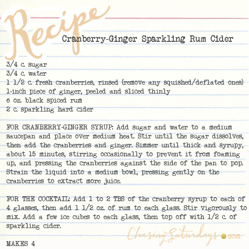 sparkling cranberry-ginger rum cider - chasing saturdays