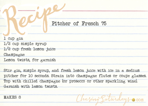 pitcher of french 75 - chasing saturdays