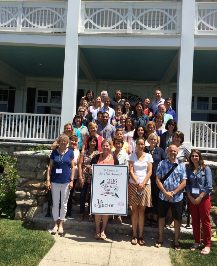 2016 Crow's Nest attendees and faculty gather on the seaside steps of the Colony Hotel at the close of the conference.
