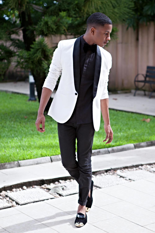 White Shawl Collar Blazer : H&M
