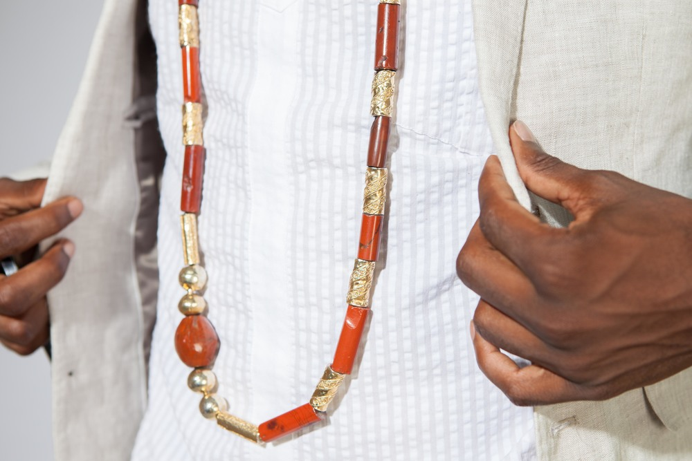 Necklace: Traditional Ondo Neckpiece ( belonged to his Grandfather)