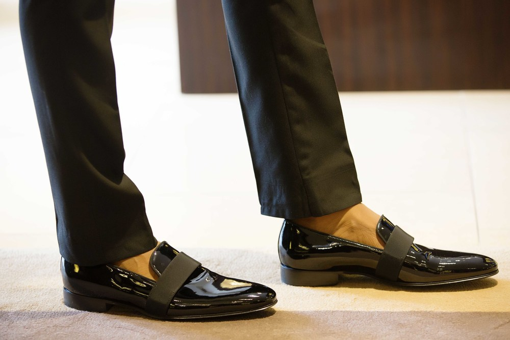 Patent Leather Dress Slippers: Ermenegildo Zegna