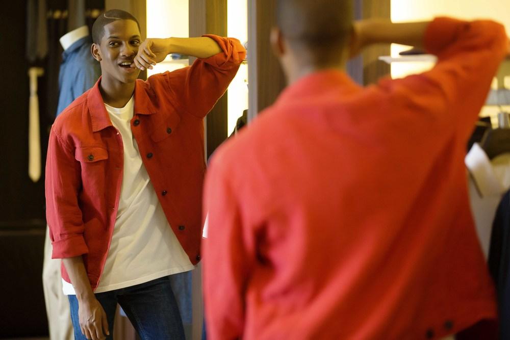 Red Linen Casual Shirt-Jacket :Ermengildo Zegna