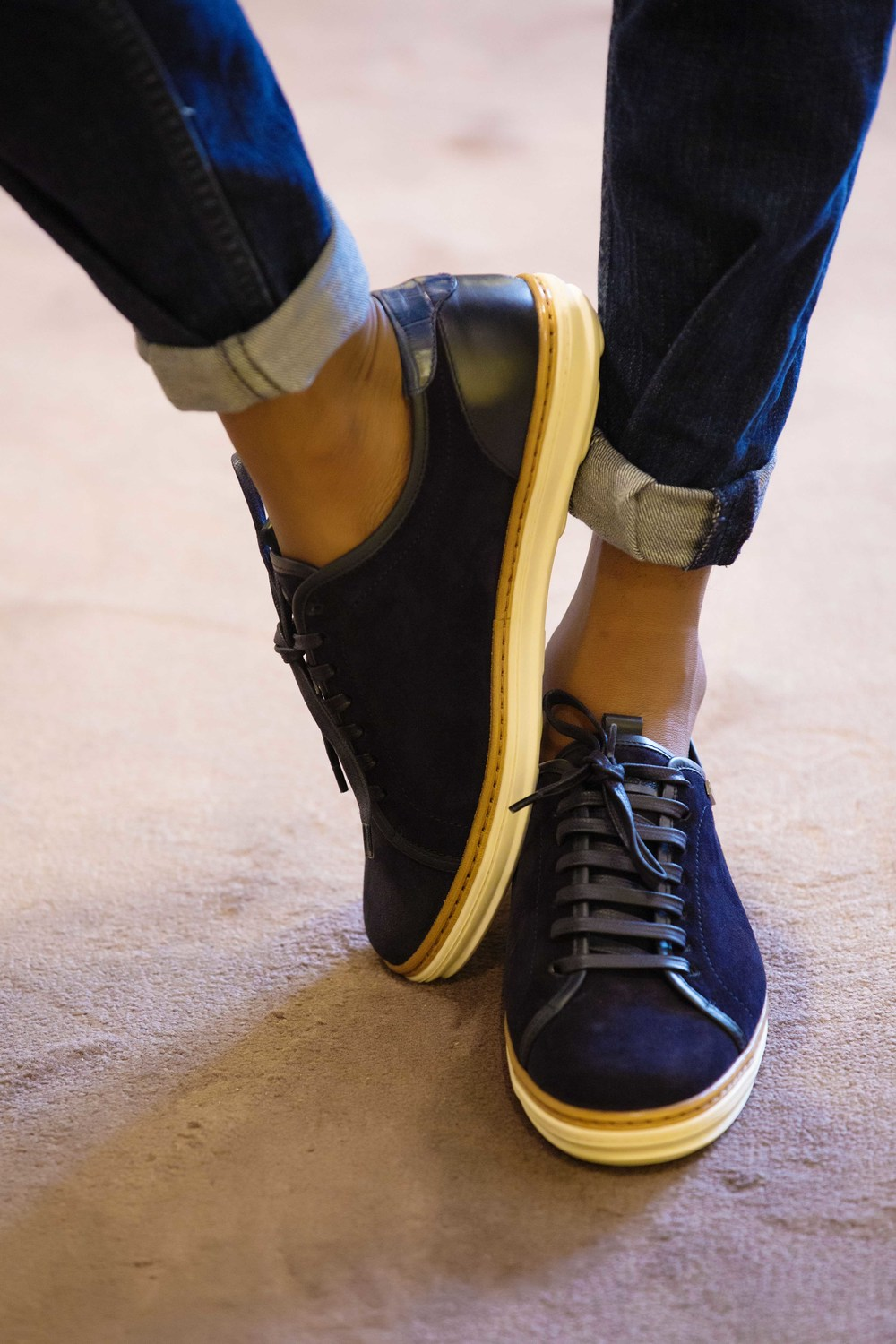 Navy Blue Suede Sneakers with Leather Laces: Ermenegildo Zegna