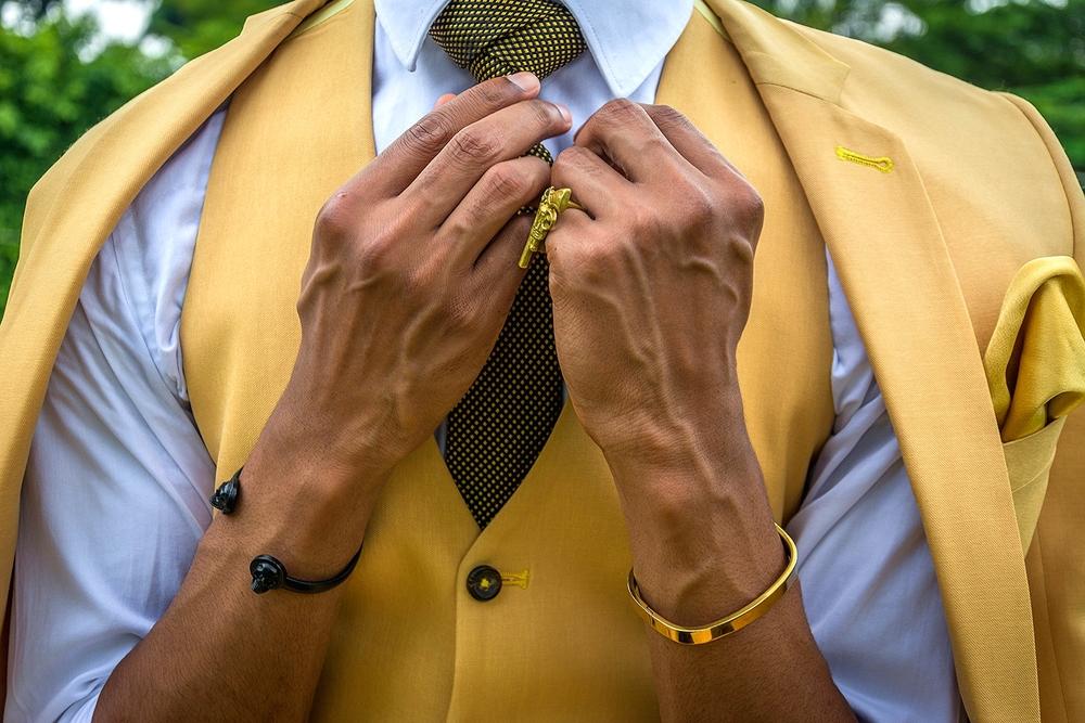 Gold & Black Textured Tie In Eldridge Knot : Markham// Black Skull Cuff: Asos // Gold Cuff:: Topman