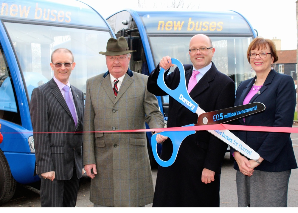 Pictured: (LtoR) Mike Harries, director for environment & the economy at Dorset County Council, Cllr Peter Finney, Dorset County Council's cabinet member for environment, Andrew Wickham, managing director of Damory and Jan Stevenson, service manager Dorset passenger transport.