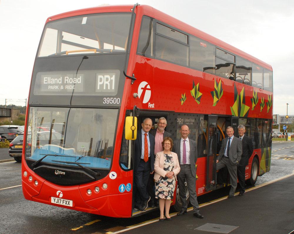 Launch of Metrodecker EV Trail Leeds LtoR -Cllrs Keith Wakefield & Richard Lewis, Paul Matthews & Simon Carlisle, First, Robert Drewery, Optare Front - Cllr Judith Blake.JPG